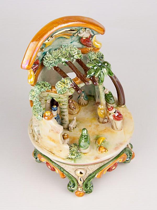 Presepe in miniatura in maiolica policroma (H 20) Presepi - CeramicArt Caltagirone