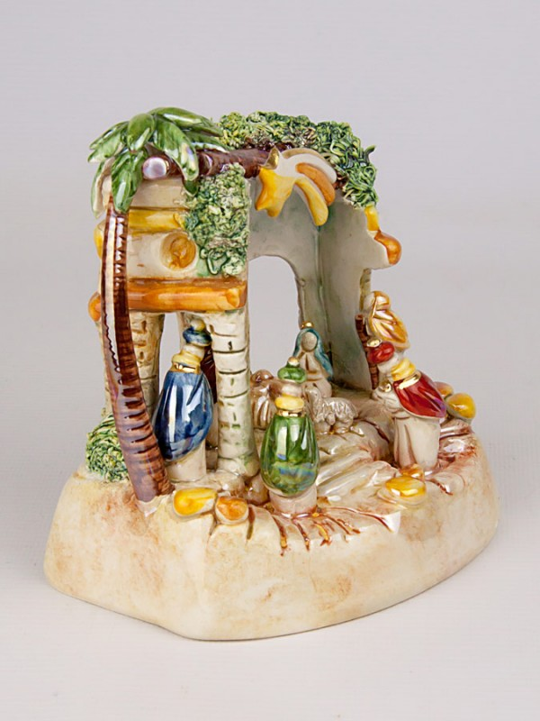 Presepe in capannina in miniatura (H 15) Presepi - CeramicArt Caltagirone