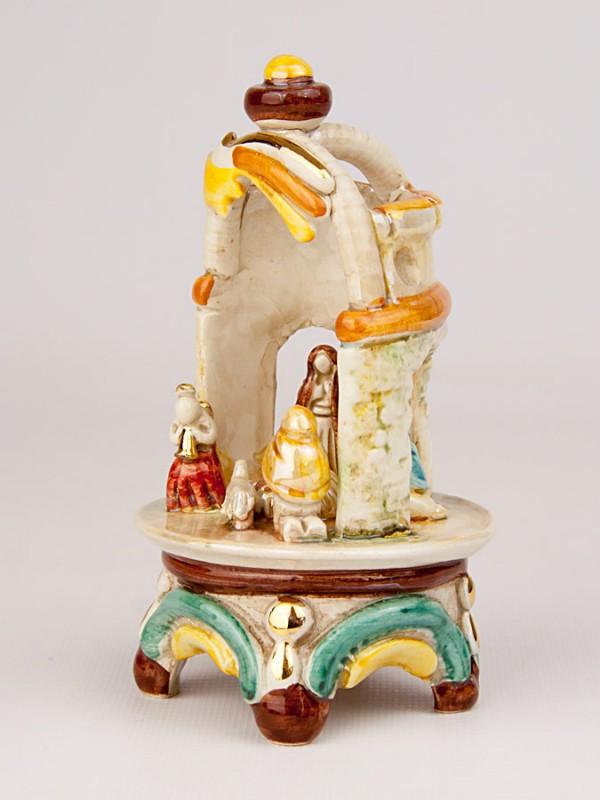 Presepe in tempietto in miniatura (H 15) Presepi - CeramicArt Caltagirone