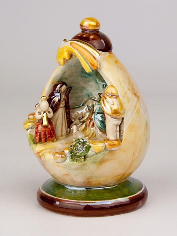Presepe in grotta in miniatura (H 12) Presepi - CeramicArt Caltagirone