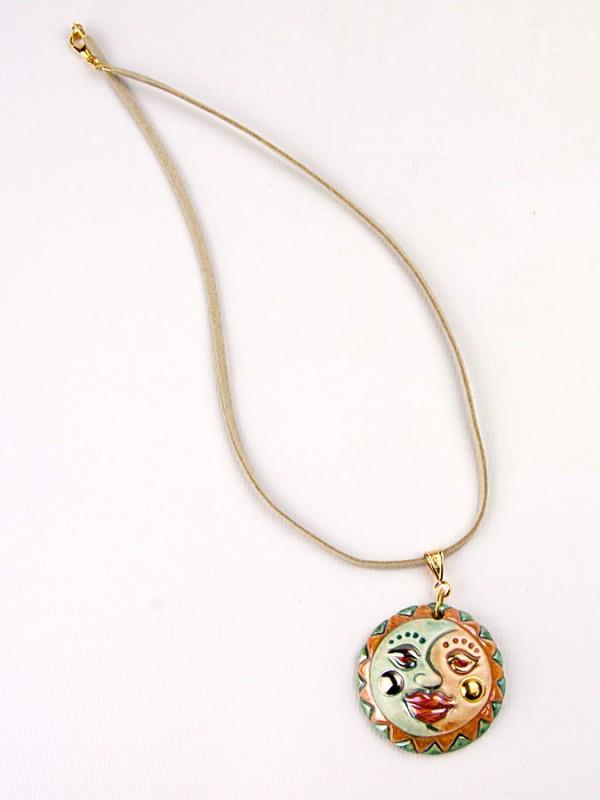 Ciondolo in maiolica Soleluna Bigiotteria - CeramicArt Caltagirone