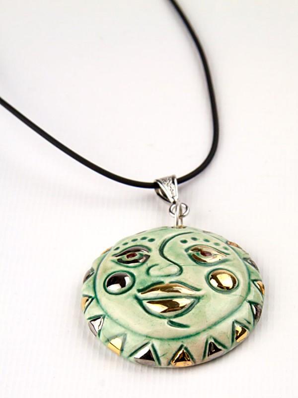 Ciondolo in maiolica Soleluna turchese Bigiotteria - CeramicArt Caltagirone