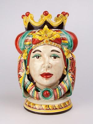 Testa porta pianta figura femminile con corona e turbante (H 40)