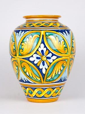 Vaso ovale con decoro Quartieri (H 30)