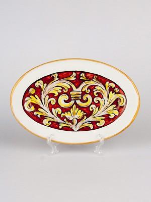 Piatto ovale con Ornato rubino (Ø 28)