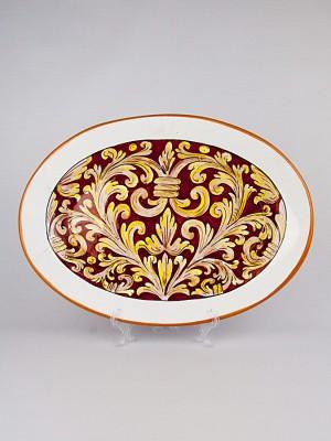 Piatto grande ovale con Ornato rubino (Ø 40)