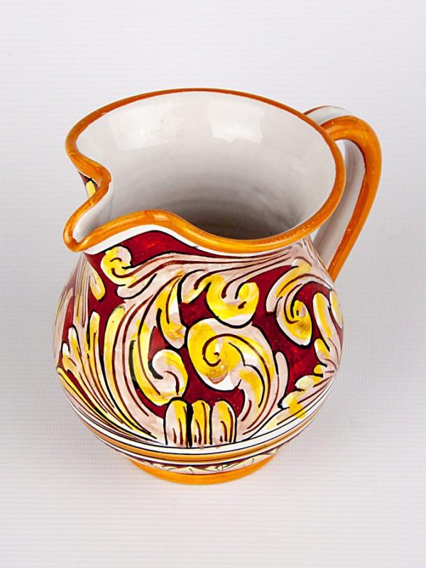 Brocca da mezzo litro con Ornato rubino (H 14) Per la Cucina - CeramicArt Caltagirone