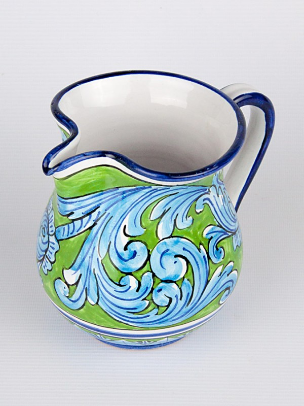 Brocca da mezzo litro con Ornato turchese (H 14) Per la Cucina - CeramicArt Caltagirone