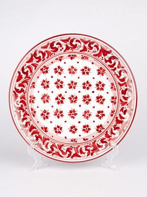 Piatto ornamentale con decoro Floreale rosso (Ø 30)