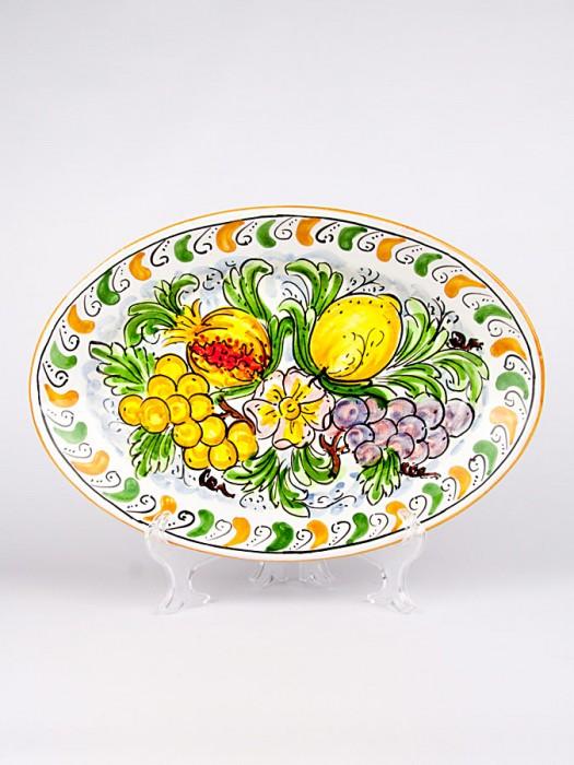 Piatto ovale con decoro Frutta (Ø 35)
