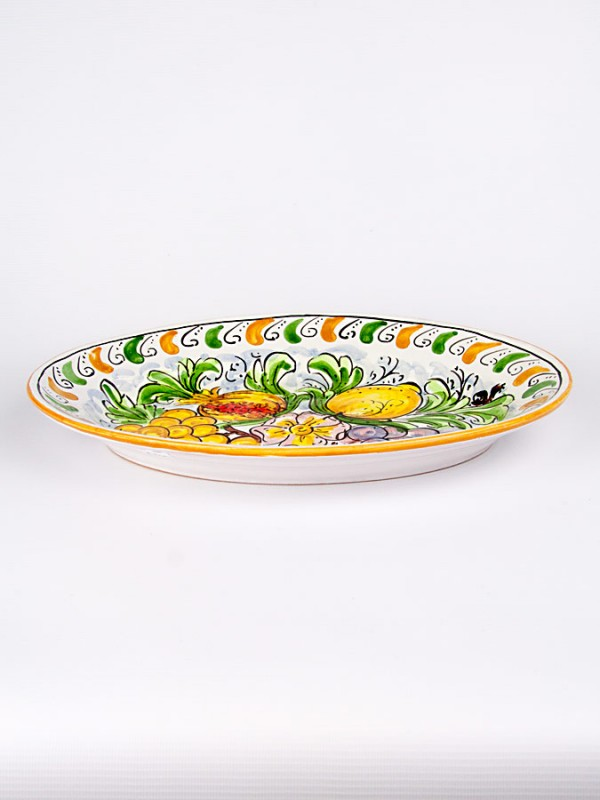 Piatto ovale con decoro Frutta (Ø 35) Piatti Ornamentali - CeramicArt Caltagirone
