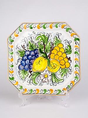 Piatto ottagonale con decoro Frutta (Ø 33)