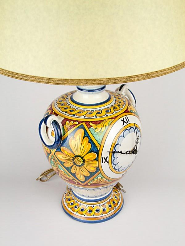 Lume con anelli e orologio centrale (H 72) Orologi - CeramicArt Caltagirone