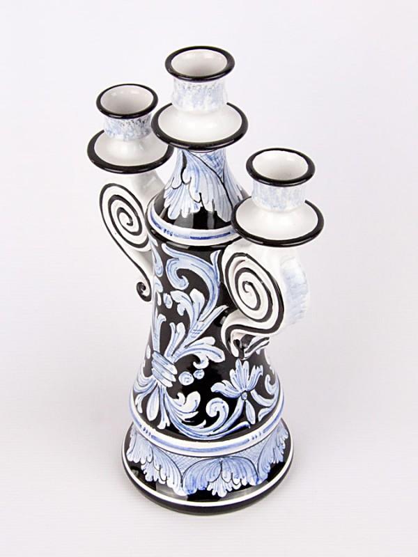 Candelabro a tre luci (H 32) Lumiere e Candelabri - CeramicArt Caltagirone