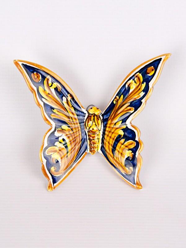 Farfalla con ornato blu (H 15) Oggettistica - CeramicArt Caltagirone
