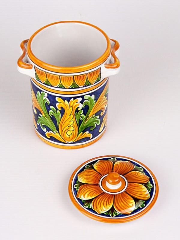 Barattolo burnia con 2 manici (H 16) Per la Cucina - CeramicArt Caltagirone
