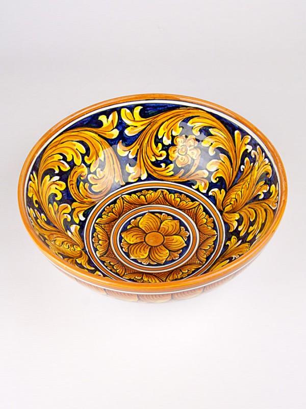 Ciotola contenitore con Ornato blu (Ø 30) Per la Cucina - CeramicArt Caltagirone