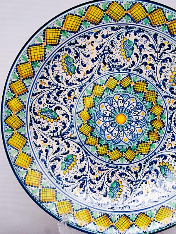 Piatto murale con decoro del  600 (Ø 40) Piatti Ornamentali - CeramicArt Caltagirone