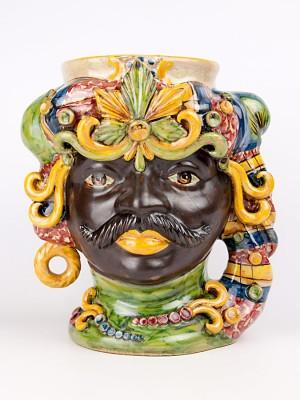 Testa porta vaso uomo moro con ornamenti (H 34)