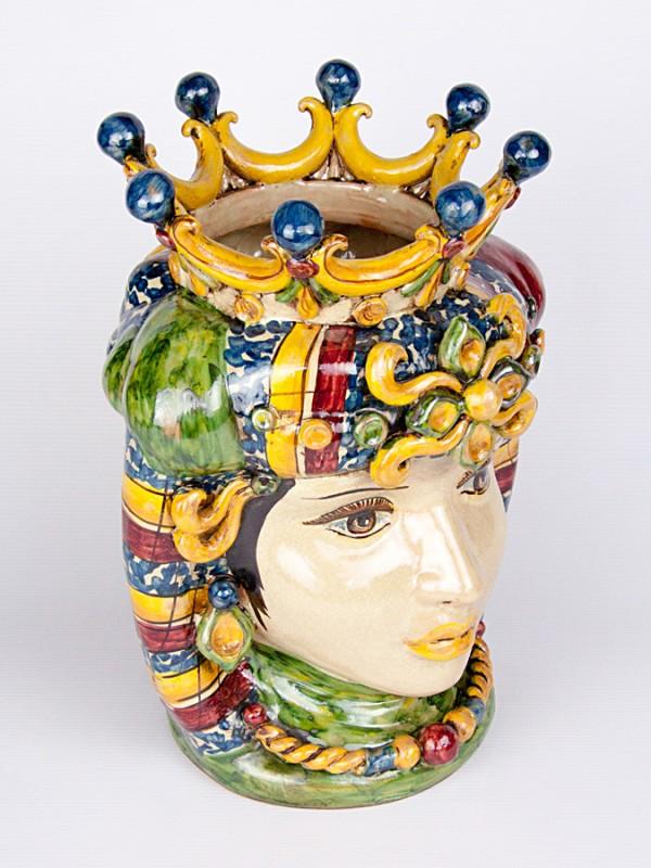 Testa porta pianta donna con corona (H 34) Teste porta piante - CeramicArt Caltagirone