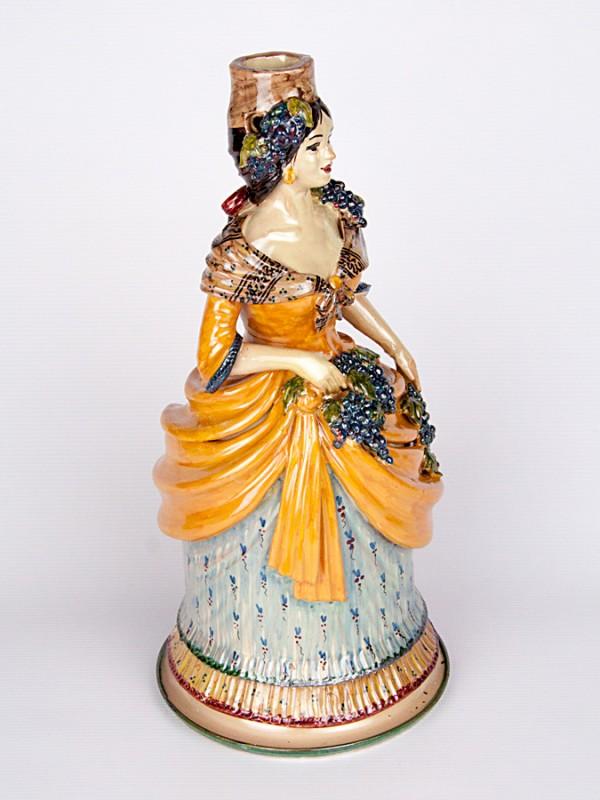 Lumiera donna autunno (H 40) Lumiere e Candelabri - CeramicArt Caltagirone