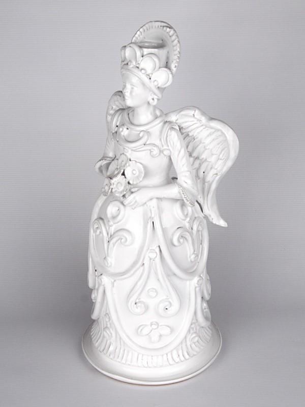 Lumiera donna raffigurante un angelo madre (H 40) Lumiere e Candelabri - CeramicArt Caltagirone