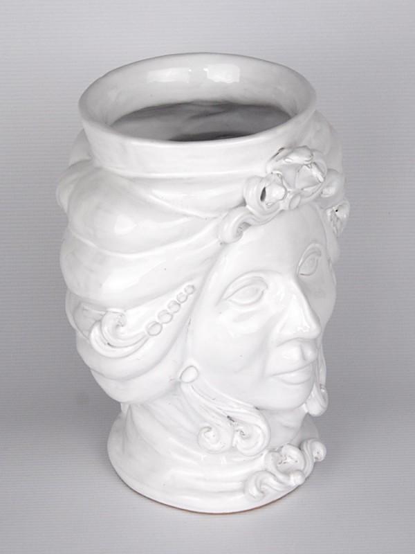 Testa porta pianta donna (H 25) Teste porta piante - CeramicArt Caltagirone