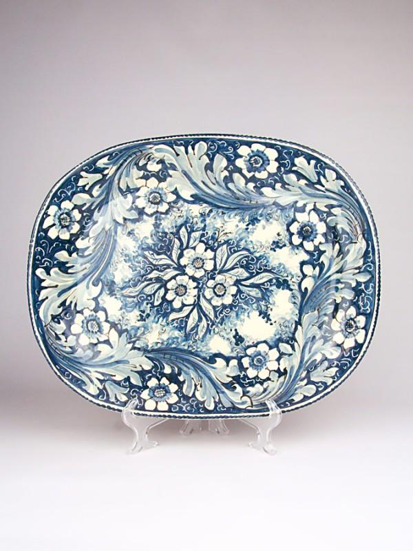Piatto rettangolare stondato monocolore blu (Ø 45) Piatti Ornamentali - CeramicArt Caltagirone