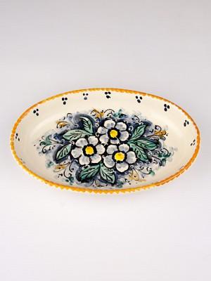 Piatto ovale con fiori (Ø 21)