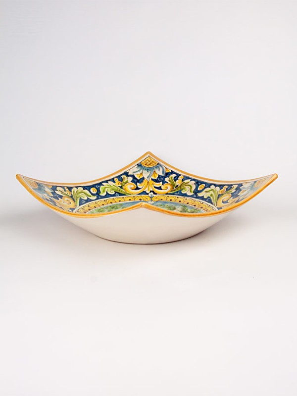 Ciotola quadrata con paesaggio (Tir. Limitata) (Ø 30) Centrotavola - CeramicArt Caltagirone