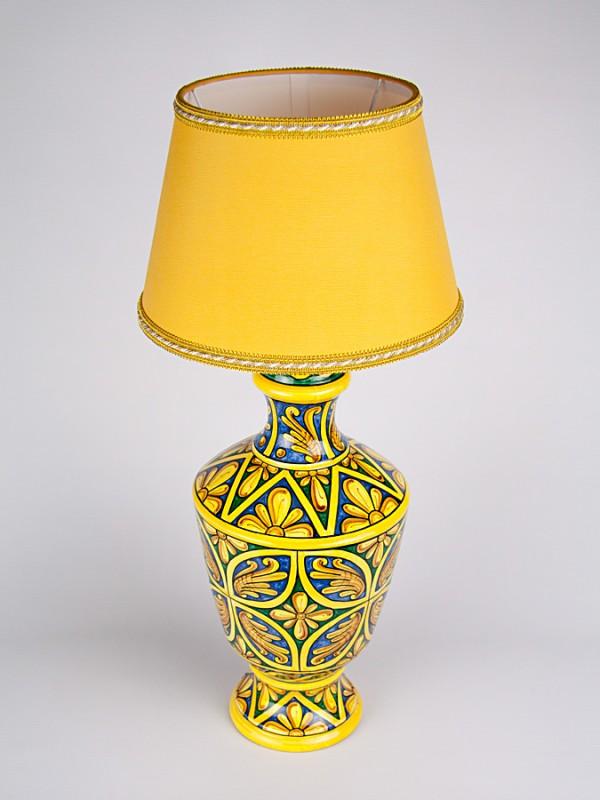 Lume con decoro Quartieri (H 56) Lumi - CeramicArt Caltagirone