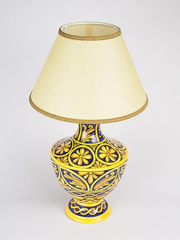 Lume con decoro Quartieri (H 53) Lumi - CeramicArt Caltagirone