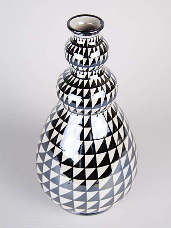 Vaso a bottiglia con decoro punta di diamante (H 32) Vasi - CeramicArt Caltagirone