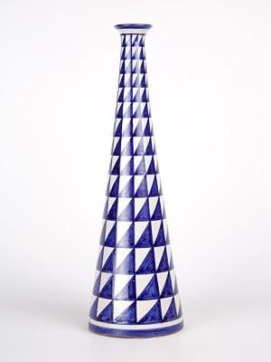 Vaso a bottiglia con decoro punta di diamante (H 27)