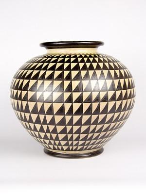 Vaso bombola con decoro punta di diamante bruno (H 30)