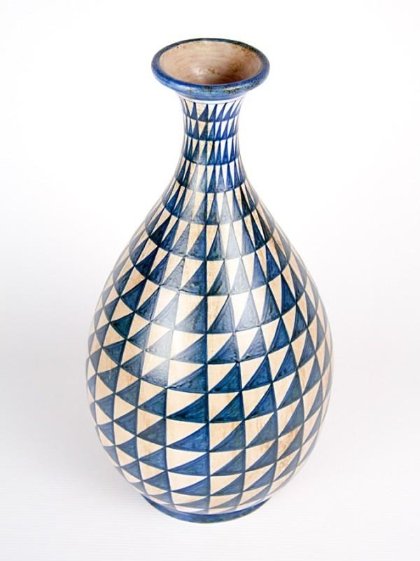 Vaso a bottiglia con decoro punta di diamante blu antico (H 36) Vasi - CeramicArt Caltagirone