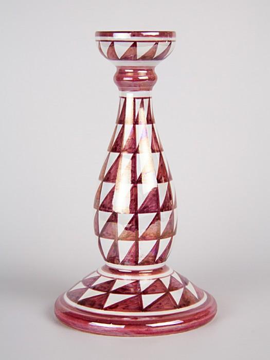 Porta candela con decoro punta di diamante (H 25)