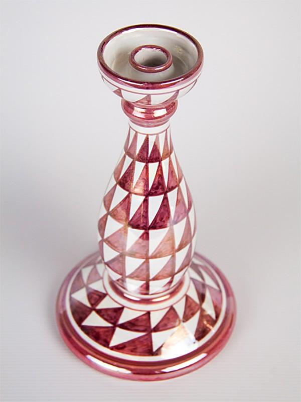 Porta candela con decoro punta di diamante (H 25) Vasi - CeramicArt Caltagirone