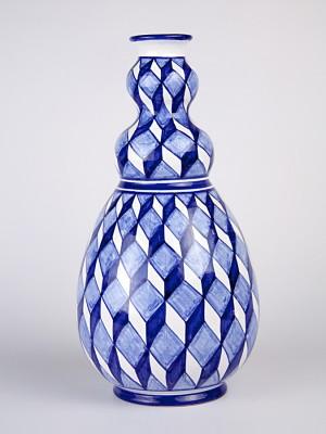 Vaso a bottiglia scutulata blu (H 32)