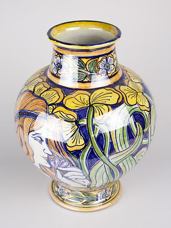 Vaso a boccia con decoro Liberty (H 35) Vasi - CeramicArt Caltagirone