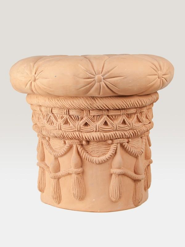 Sedile cilindrico con merletti e orlature rinascimentali (Ø 52) Elementi da Giardino - CeramicArt Caltagirone