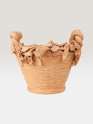 Cesto porta pianta in terracotta ispirato alla primavera (Ø 37)