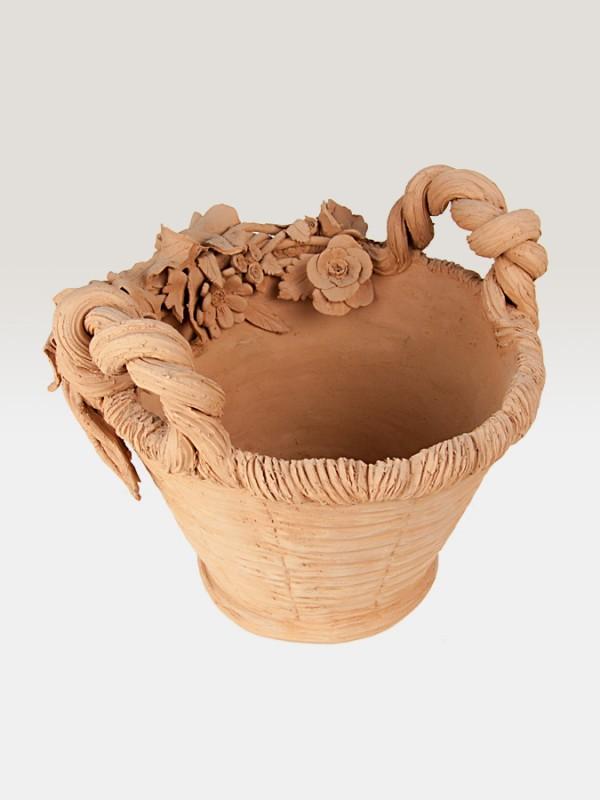 Cesto porta pianta in terracotta ispirato alla primavera (Ø 37) Elementi da Giardino - CeramicArt Caltagirone