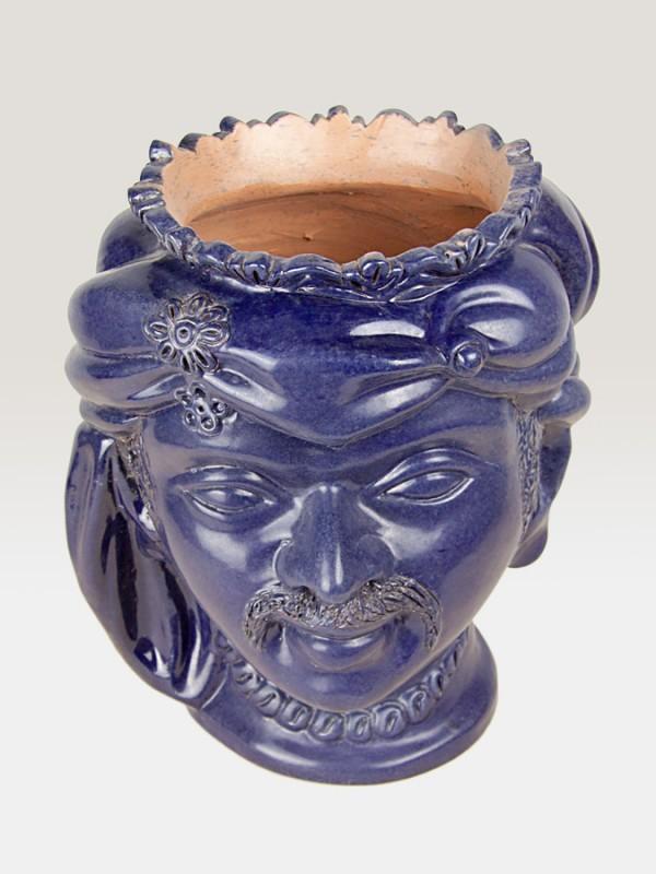 Testa saraceno blu porta pianta da giardino (H 35) Elementi da Giardino - CeramicArt Caltagirone
