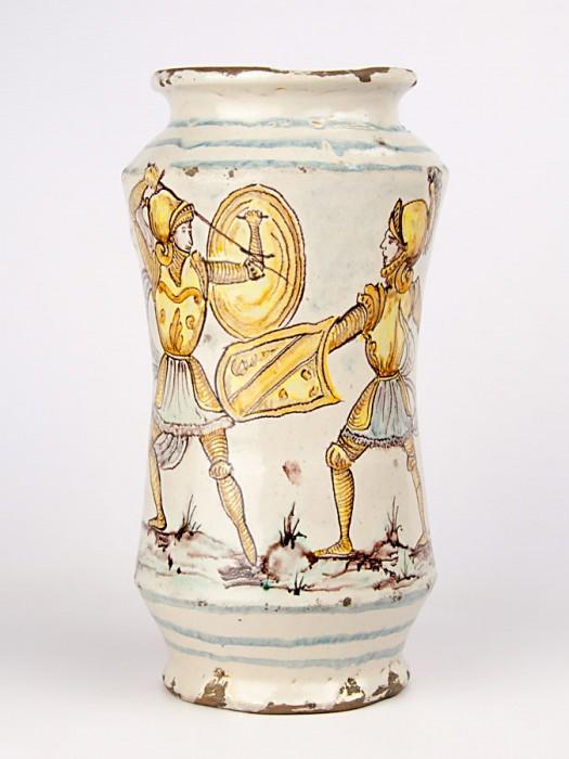 Vaso ad albarello anticato con paladini (Tir. Limitata) (H 28)