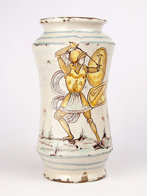 Vaso ad albarello anticato con paladini (Tir. Limitata) (H 28) Vasi - CeramicArt Caltagirone