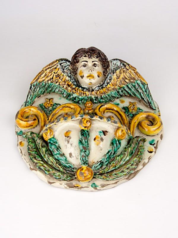 Acquasantiera anticata con angelo (Tir. Limitata) (H 29) Acquasantiere - CeramicArt Caltagirone