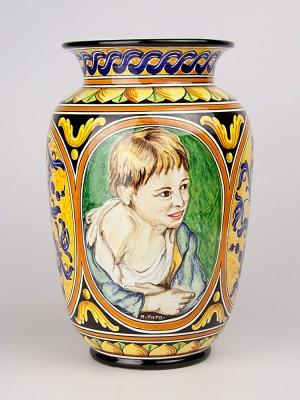 Vaso con busto di ragazzino e decoro a serie d'arte (Tir. Limitata) (H 31)
