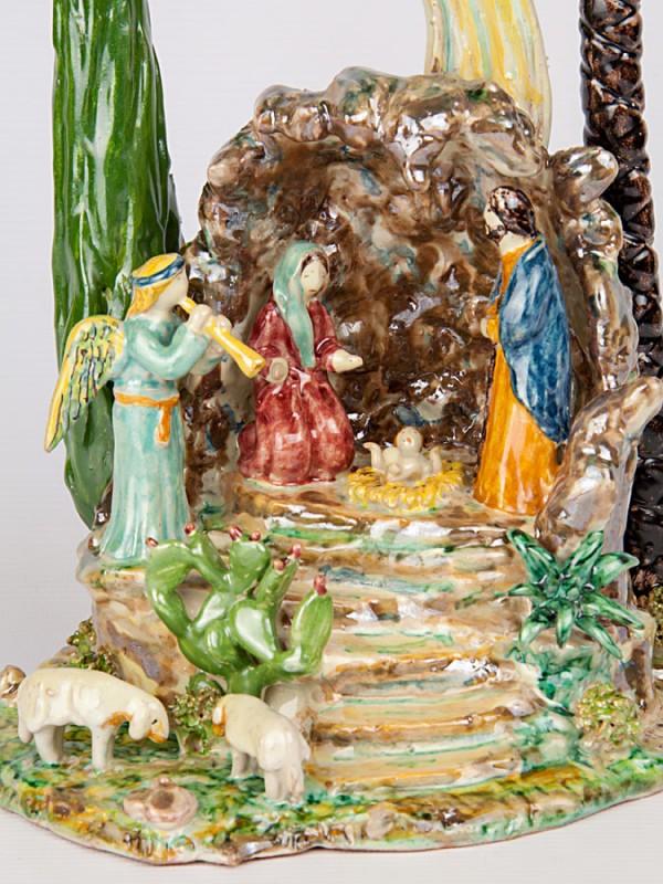 Presepe nella grotta (Tir. Limitata) (H 27) Presepi - CeramicArt Caltagirone