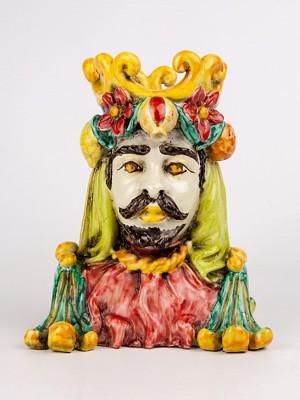 Busto uomo maiolicato con frutta (Tir. Limitata) (H 17)